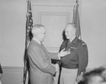 US President Harry Truman awarding General Dwight Eisenhower the third Oak Leaf Cluster to the Distinguished Service Medal, Pentagon, Virginia, United States, 7 Feb 1948, photo 2 of 2