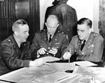 US Army Brigadier General Crawford, Brigadier General Eisenhower, and Chief of War Plans Division General Leonard Gerow, Washington, DC, United States, 26 Jan 1942