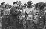 Eisenhower speaking to Easy Company men of the 502d PIR of the US 101st Airborne Division, RAF Greenham Common, Newbury England, 5 Jun 1944