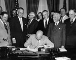 US President Dwight Eisenhower signing the law that officially changed the holiday Armistice Day to Veterans Day, White House, Washington DC, United States, 1 Jun 1954