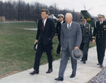 US President John Kennedy and Dwight Eisenhower at Camp David, Maryland, United States, 22 Apr 1961