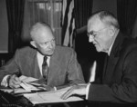 US President Dwight Eisenhower and US Secretary of State John Foster Dulles, White House, Washington DC, United States, 14 Aug 1956