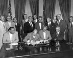 US President Dwight Eisenhower signing the Atomic Energy Act of 1954, White House, Washington DC, United States, 30 Aug 1954