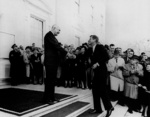 US President Dwight Eisenhower greeting President-Elect John Kennedy, 6 Dec 1960