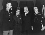 US President Dwight Eisenhower with Medal of Honor recipients Edward Schowalter, Jr., Ernest West, and William Charette, White House, Washington DC, United States, 12 Jan 1954