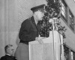 General Dwight Eisenhower speaking at the Aircraft Engine Research Laboratory at Lewis Field, Cleveland, Ohio, United States, 11 Apr 1946; note lab director Edward Sharp in background