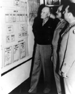 General Dwight Eisenhower, Major General Muir Fairchild, and Major General David Schlatter at the Air University, Maxwell Field, Alabama, United States, 9 Apr 1947