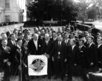 US President Dwight Eisenhower receiving members of the People to People sports committee at the White House Rose Garden, Washington DC, United States, 11 Oct 1960
