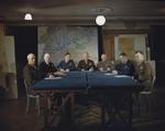 Bradley, Ramsay, Tedder, Eisenhower, Montgomery, Leigh-Mallory, and Smith at a SHAEF conference in London, England, United Kingdom, 1 Feb 1944, photo 5 of 7