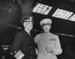 Admiral Harold Stark and General Dwight Eisenhower at Antwerp, Belgium, 15 Jul 1945, photo 1 of 2; they were awaiting the arrival of US President Harry Truman, en route for the Potsdam Conference