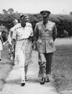 Eleanor Roosevelt and Dwight Eisenhower at the Roosevelt residence in Hyde Park, New York, United States, 10 Jul 1945