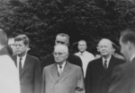 John Kennedy, Harry Truman, Lyndon Johnson (behind Truman), and Dwight Eisenhower at Eleanor Roosevelt