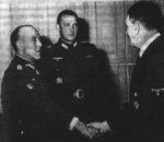 Spanish Army General Esteban Infantes shaking hands with Adolf Hitler, date unknown