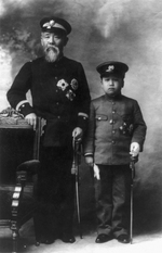 Prince Ito Hirobumi of Japan and Crown Prince Yi Un of Korea, late 1907