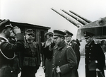 Japanese military attaché Makoto Onodera visiting the Fjell Festning fortification in Norway with Eberhard von Zedlitz, Robert Morath, and Nikolaus von Falkenhorst, 26 Dec 1942