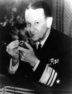 US Navy Vice Admiral Frank Jack Fletcher lighting his pipe, circa 1942-1945