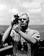Navigation Officer Gerald R. Ford took a sextant reading aboard the USS Monterey, 1944