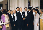US President Gerald Ford shaking hands with baseball player Gerald Ford at the White House, Washington DC, United States, 2 Oct 1975; note Emperor Showa and Betty Ford (partially hidden) also present