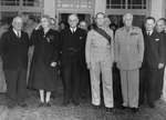 US Ambassador Nelson Johnson, Lady Gowrie, John Curtin, Douglas MacArthur, Governor General Lord Gowrie, and Frank Forde, Australia, 8 Jun 1943