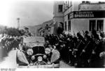 Wilhelm Frick, in a convertible, waving to the crowd, Sudetenland, Czechoslovakia, 23 Sep 1938, photo 1 of 2