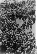 Frick being welcomed by a crowd, Sudetenland, Czechoslovakia, 23 Sep 1938, photo 2 of 3