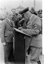 Frick at a podium during a visit to Sudetenland, Czechoslovakia, 23 Sep 1938