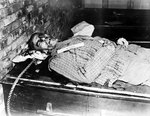 The remains of Wilhelm Frick after his execution by hanging, Nuremberg, Germany, 16 Oct 1946