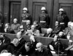Frank, Frick, Funk, Jodl, Rosenberg, Seyß-Inquart, Speer, Streicher, Neurath, and Papen at the Nuremberg Trial, Germany, 27 Nov 1945