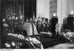 Hermann Göring at the funeral of Ernst Udet, Berlin, Germany, 21 Nov 1941; note Adolf Galland serving as a honor guard