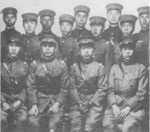 Gao Zhihang (front row, second from right) with fellow flight cadets, France, 1920s