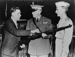 John Garand displayed the features of the M1 Garand rifles to US Army generals Charles Wesson and Gilbert Stewart, 1944
