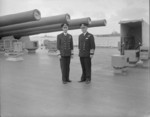 King George VI of the United Kingdom and Admiral John Tovey aboard HMS King George V, Scapa Flow, Scotland, United Kingdom, Aug 1941
