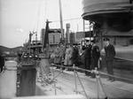 King George VI of the United Kingdom aboard HMS Codrington at Boulogne-sur-Mer, France while visiting the British Expeditionary Force, 11 Dec 1939