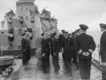 King George VI of the United Kingdom aboard HMS Glasgow at Scapa Flow, Scotland, United Kingdom, 18-21 Mar 1943