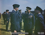 King George VI speaking with Flight Lieutenant Les Munro, observed by Wing Commander Guy Gibson and Air Vice Marshal Ralph Cochrane, Scampton, England, United Kingdom, 27 May 1943