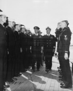 King George VI inspecting the crew of USS Augusta, Plymouth, England, United Kingdom, 2 Aug 1945