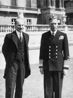 British Prime Minister Clement Attlee and King George VI of the United Kingdom, Buckingham Palace, London, England, United Kingdom, 26 Jul 1945