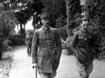 Captured French Army General Giraud taking a walk in the garden of the house in which he was imprisoned, Germany, circa 1940-1941