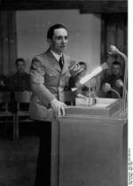 Joseph Goebbels speaking at the Ordensburg Vogelsang school in North Rhine-Westphalia, Germany, 22-29 Apr 1937