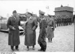 German Luftwaffe Colonel-General Bruno Loerzer, Field Marshal Hermann Göring, and Major General Adolf Galland inspecting an airfield in Belgium or France, Sep 1940