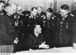 Adolf Hitler speaking with generals Wilhelm Berlin, Robert von Greim, Franz Reuß, Job Odebrecht, and Theodor Busse at the headquarters of German Army Group Vistula, Mar 1945