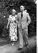 Danzig Senate President Greiser and his wife taking a walk in their garden, Free City of Danzig, 1936