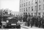 German Army Lieutenant General Heinz Guderian and Russian Army Brigadier General Semyon Krivoshein during the victory parade in Brest, Poland, 22 Sep 1939, photo 2 of 2