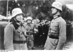 German generals Heinz Guderian and Reinhardt at Karlovy Vary (German: Karlsbad) in the Sudetenland region of occupied Czechoslovakia, circa Oct 1938
