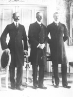 King Haakon VII of Norway, King Gustaf V of Sweden, and Christian X of Denmark, Malmö, Sweden, Dec 1914
