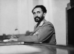 Emperor Haile Selassie in his study at the palace in Addis Ababa, Abyssinia, circa 1942