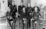 US Navy Vice Admiral Philip Andrews in a European US embassy, circa summer 1923; note Commander William Halsey second from left in back row
