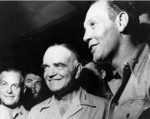 Admiral William Halsey and Commander Joseph Clifton at a party for officers at Espiritu Santo, New Hebrides, circa Nov 1943