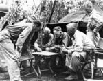 Halsey at a planning session on Bougainville, Solomon Islands with USMC Major Generals Allan H. Turnage and Roy S. Geiger, Nov 1943