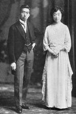 Crown Prince Hirohito and Princess Nagako, early 1924, possibly on the date of their wedding (24 Jan 1924)